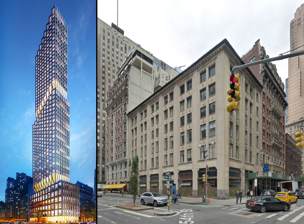 1710 Broadway, via Colliers International, design by PLP Architecture. 1710 Broadway extant at right via Google Maps
