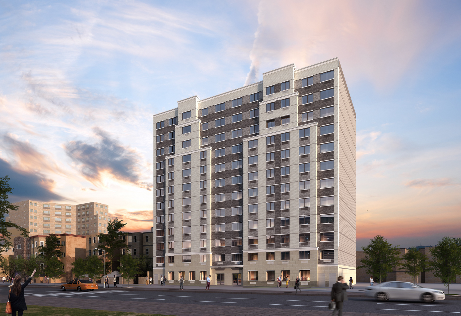 2065-2067 Ryer Avenue, rendering courtesy UA Builders Group, with design by Badaly Architects