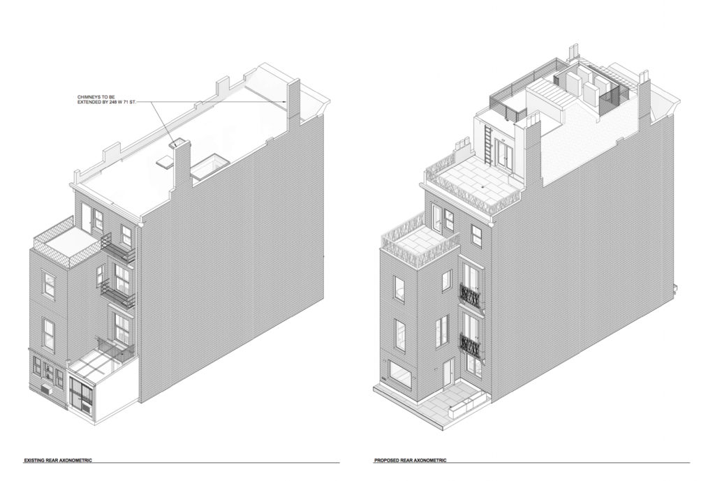 250 West 71st Street elevation of existing backside (left) and proposed facade (right), image courtesy MAD