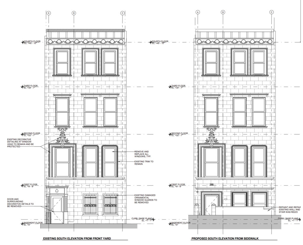 250 West 71st Street elevation of existing facade (left) and proposed facade (right), image courtesy MAD