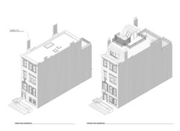 250 West 71st Street elevation of existing street-facing facade (left) and proposed facade (right), image courtesy MAD