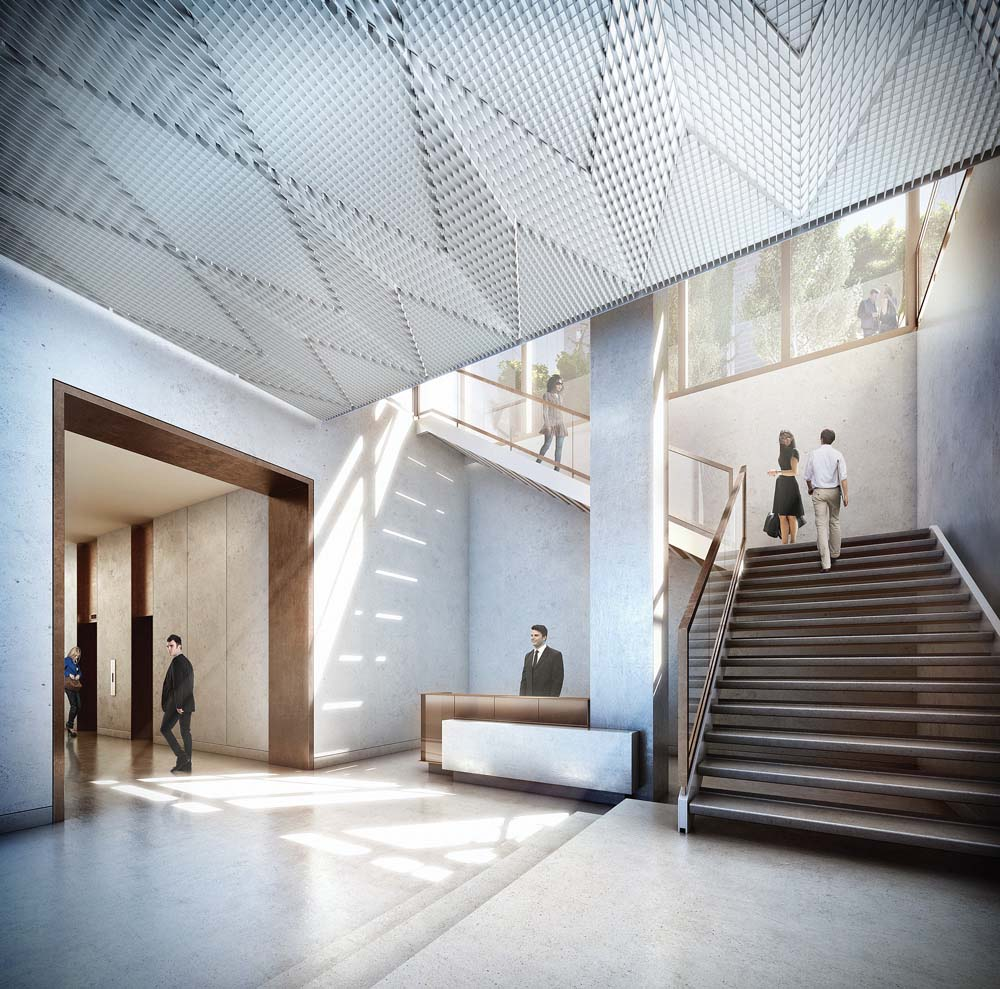 40 10th Avenue lobby, rendering by Studio:Gang Architects