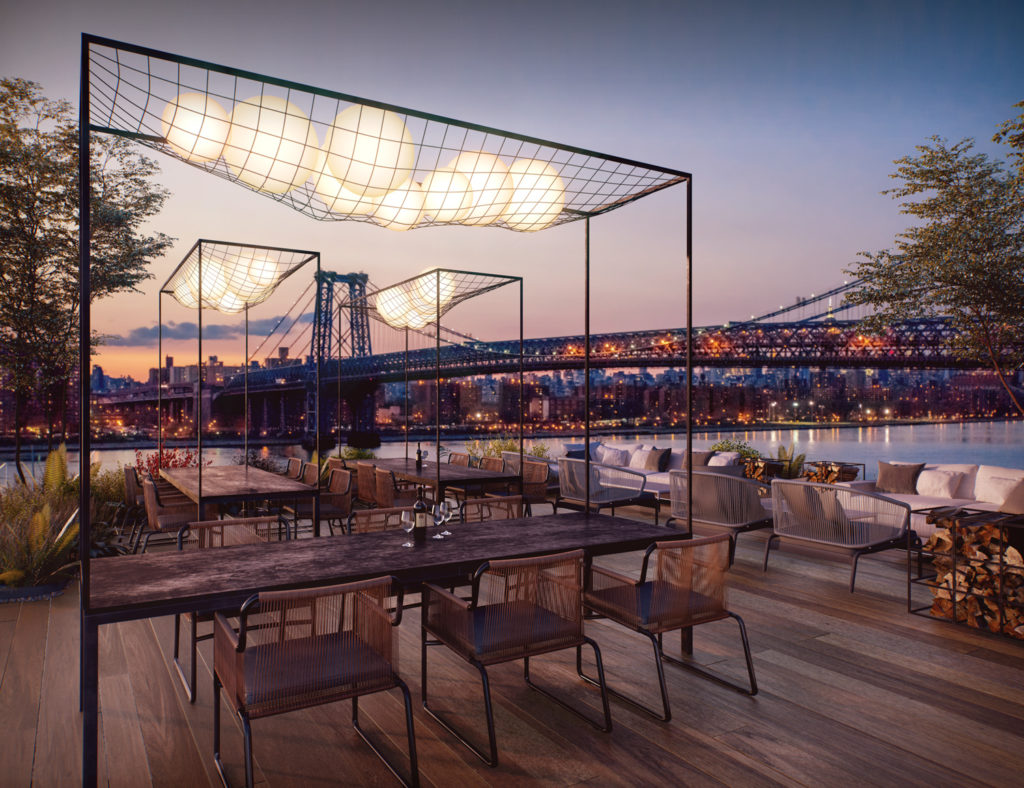 420 Kent Avenue outdoor lounge, design by ODA New York