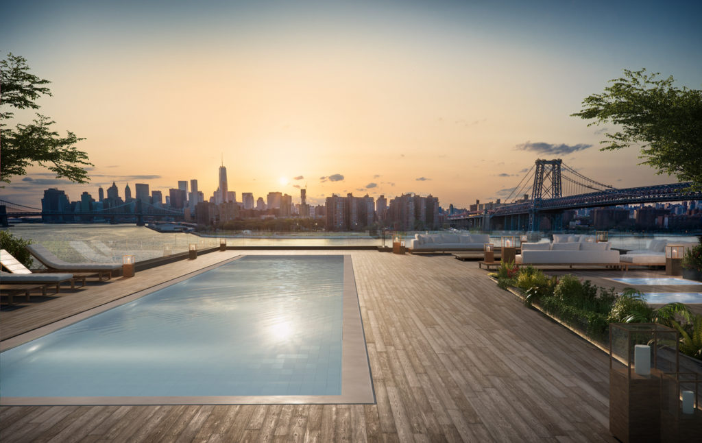 420 Kent Avenue rooftop pool, design by ODA New York