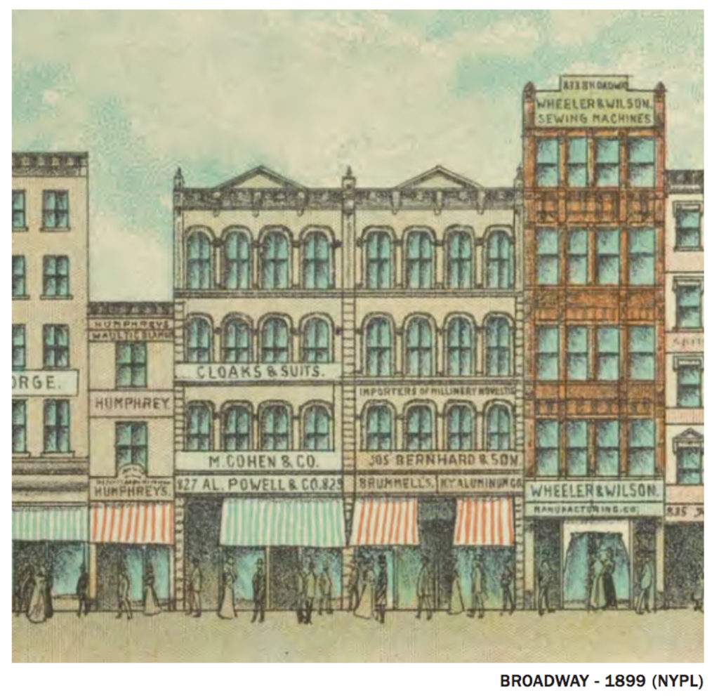 827-831 Broadway in 1899, image from NYPL courtesy DXA Studio