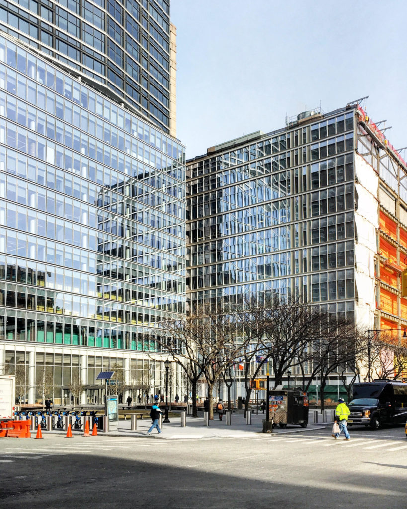 Completed facades of 388-390 Greenwich St. surrounding the newly redesigned plaza,. photo by Michael Young