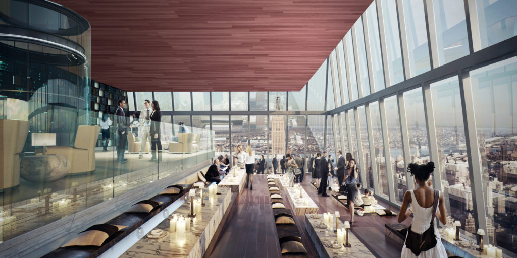 Hudson Yards Observation Deck Lounge, rendering courtesy of Related and Oxford