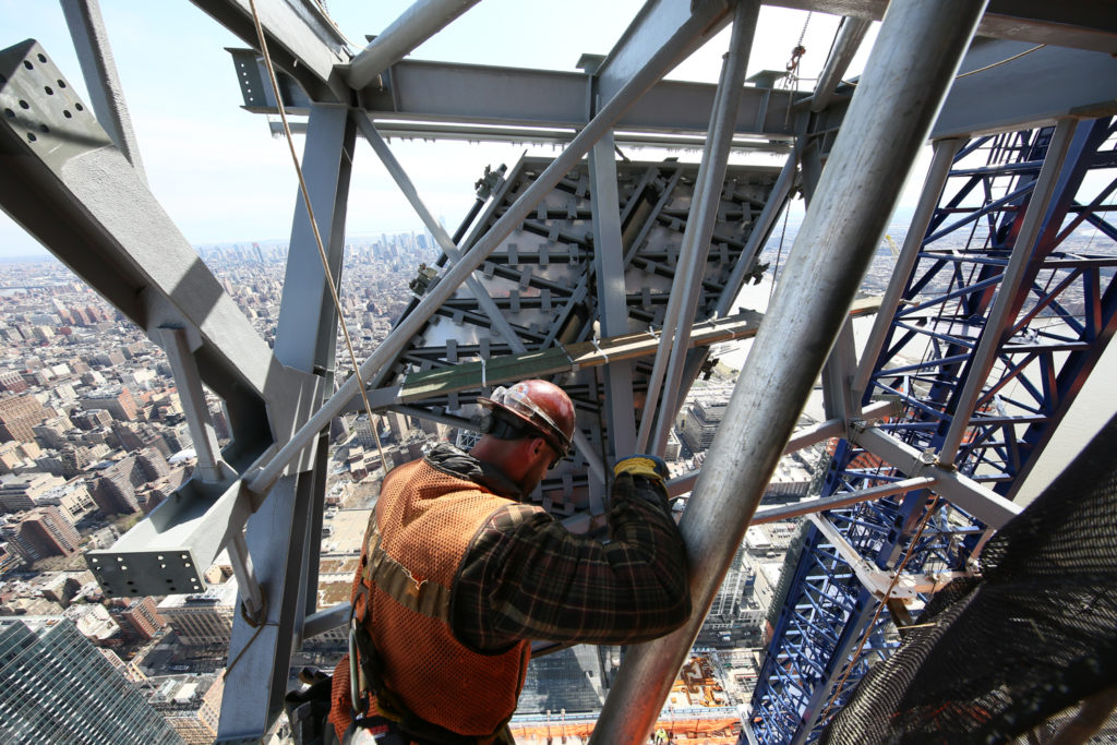Hudson Yards Observation Deck section being installed on 30 Hudson Yards, photograph by Joe Woolhead