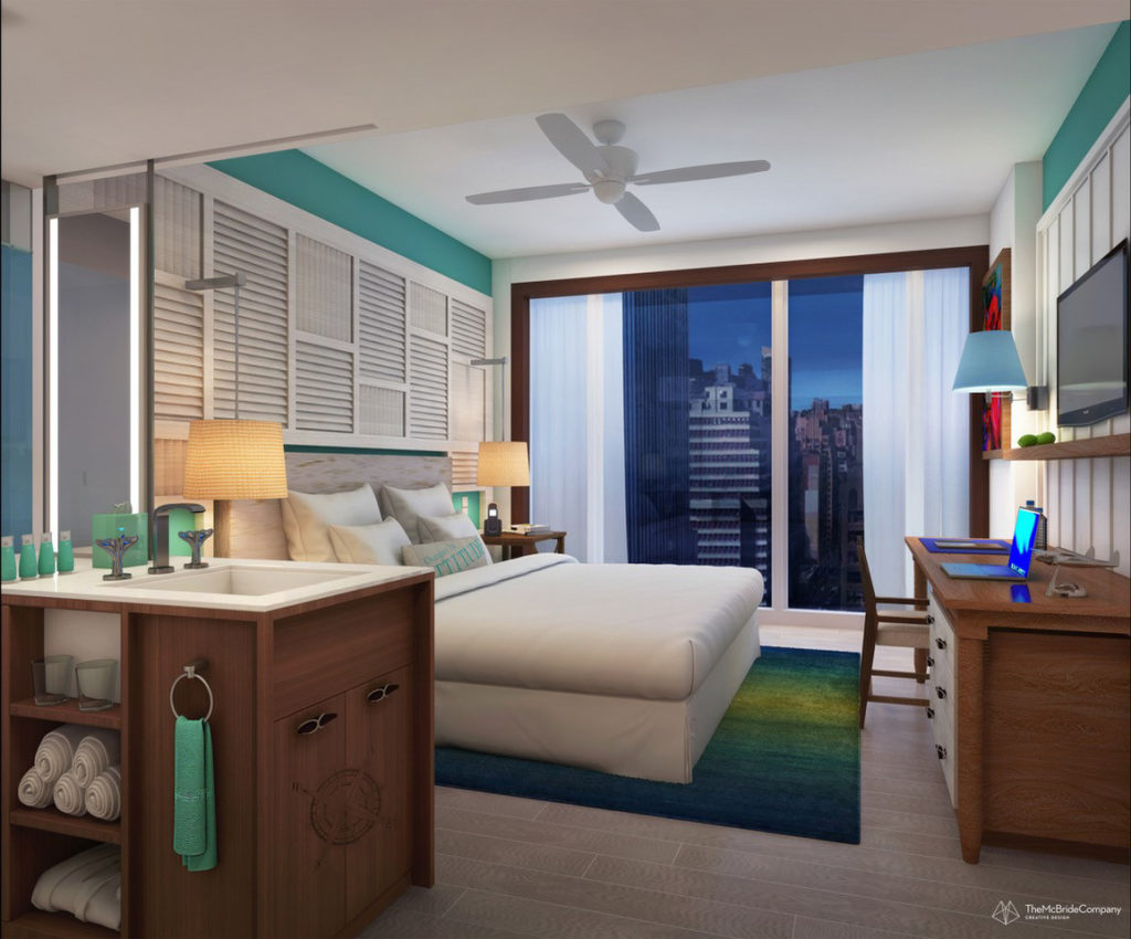 Margaritaville Resort guest room, rendering courtesy The McBride Company
