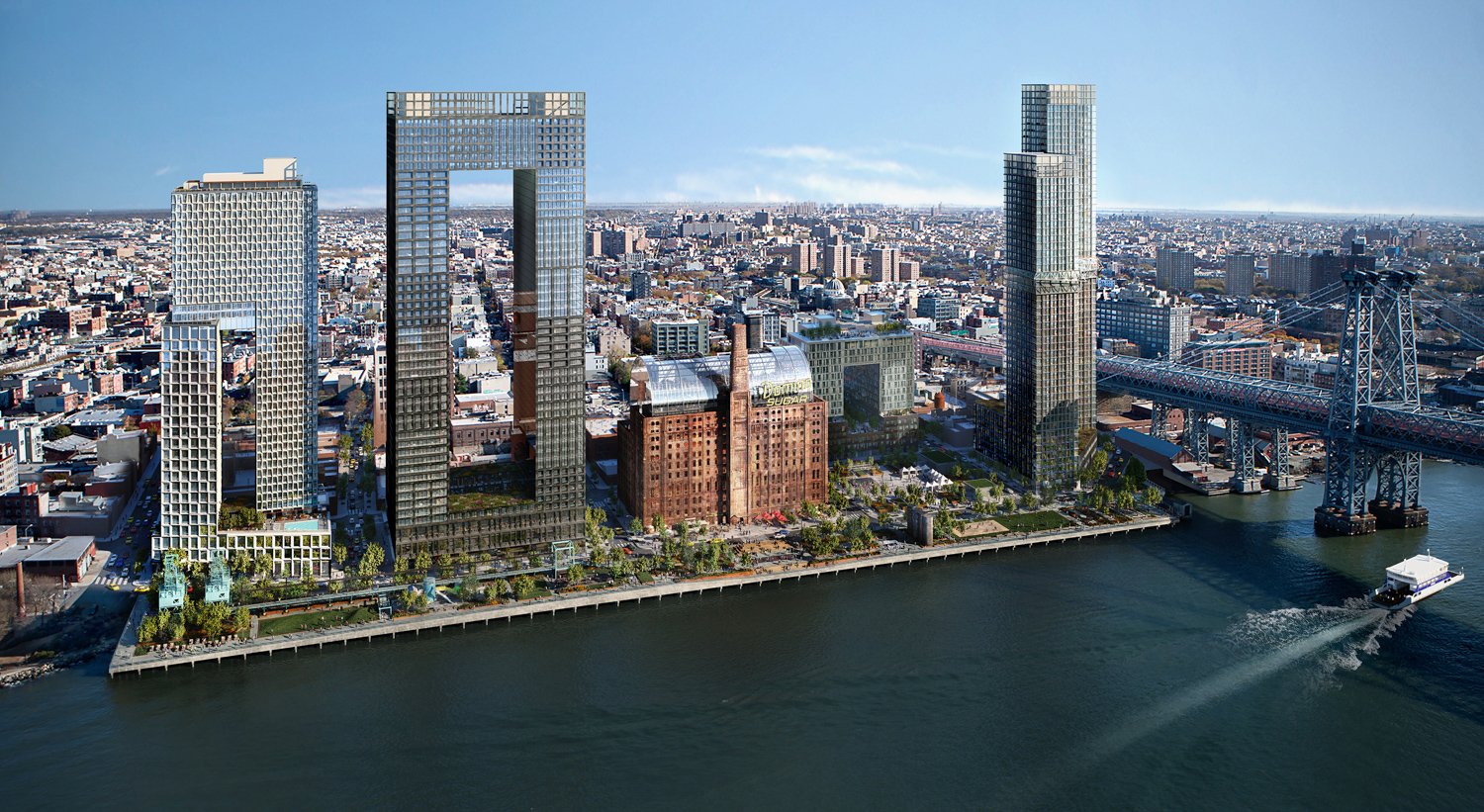 Masterplan look for the Domino Sugar Factory Redevelopment, rendering courtesy Two Trees