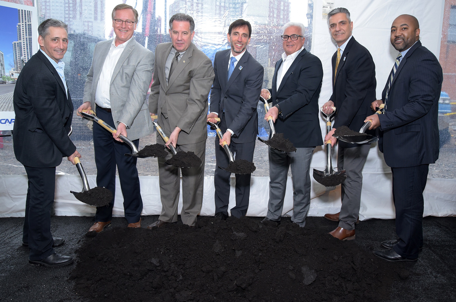 Photos from The Standard groundbreaking ceremony in 2018. From left, Bruce Berg, Cappelli Organization; Rob Dirks, Principal Real Estate Investors, LLC; New Rochelle City Manager Chuck Strome; New Rochelle Mayor Noam Bramson; Louis Cappelli, Cappelli Organization; New Rochelle Planning Commissioner Luiz Aragon, and District 3 Councilman Jared Rice