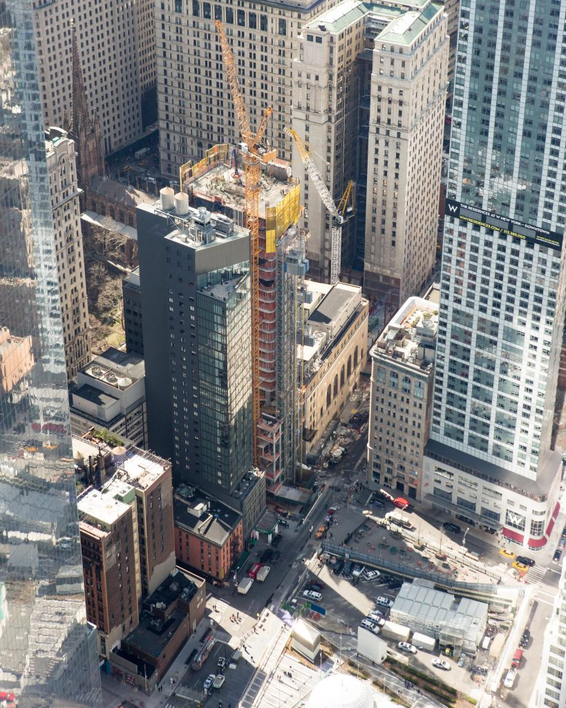 125 Greenwich Construction Site from the 125 Greenwich Sales Gallery 1WTC, image by Andrew Campbell Nelson