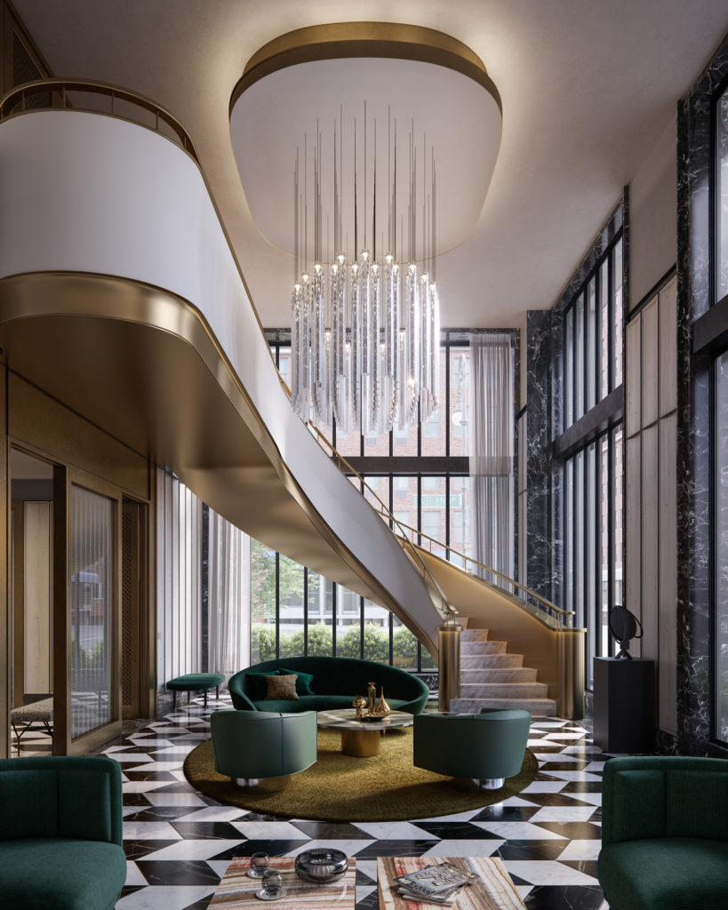 40 East End south lounge sculptural staircase, rendering by Binyan Studios