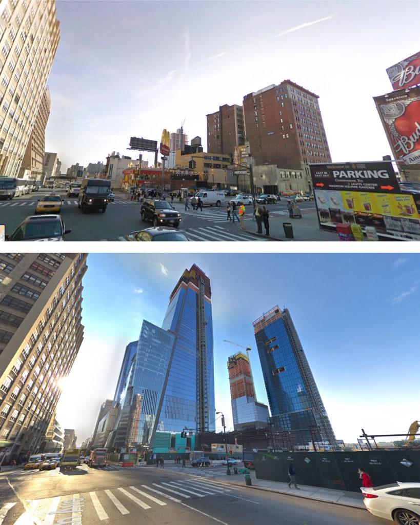 50 Hudson Yards from 2007 (top) 50 Hudson Yards with surrounding towers (December 2017)