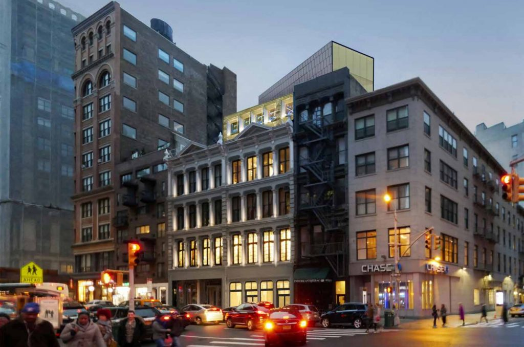 Approved design for 827-831 Broadway at night, rendering courtesy DXA Studios
