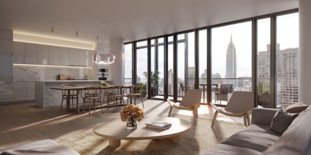 Condominium living room with views of the Empire State Building, 685 First Avenue, design by Richard Meier & Partners Architects