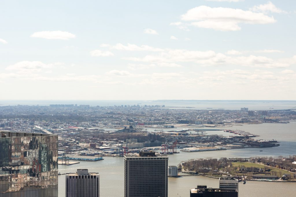 Coney Island and the Atlantic Ocean visible from the 125 Greenwich Sales Gallery 1WTC, image by Andrew Campbell Nelson