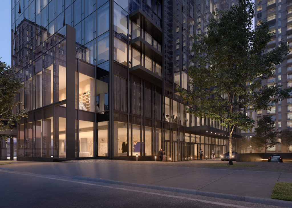 Exterior view of entrance at 685 First Avenue, design by Richard Meier & Partners Architects