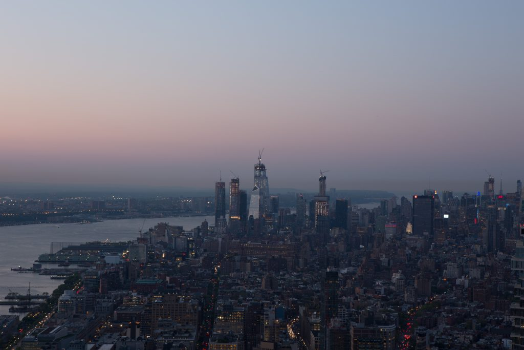 Hudson Yards at twilight, seen from 30 Park Place, image by Andrew Campbell Nelson