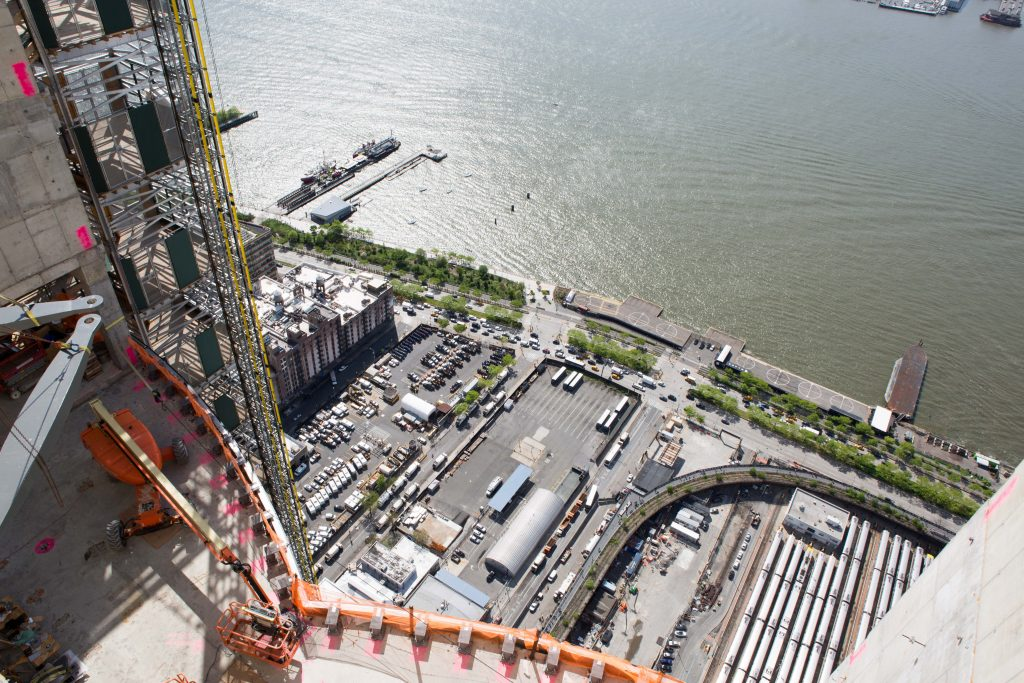 Looking toward the remaining exposed train yard, as well as future location of the shared resident's terrace space, image from 15 Hudson Yards by Andrew Campbell Nelson