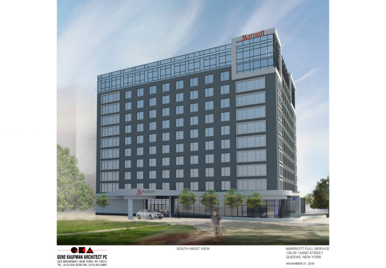 New Marriott by JFK Airport, rendering by Gene Kaufman Architect
