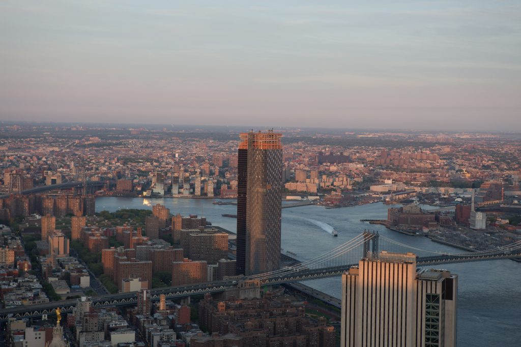 One Manhattan Square at dusk from 30 Park Place, image by Andrew Campbell Nelson