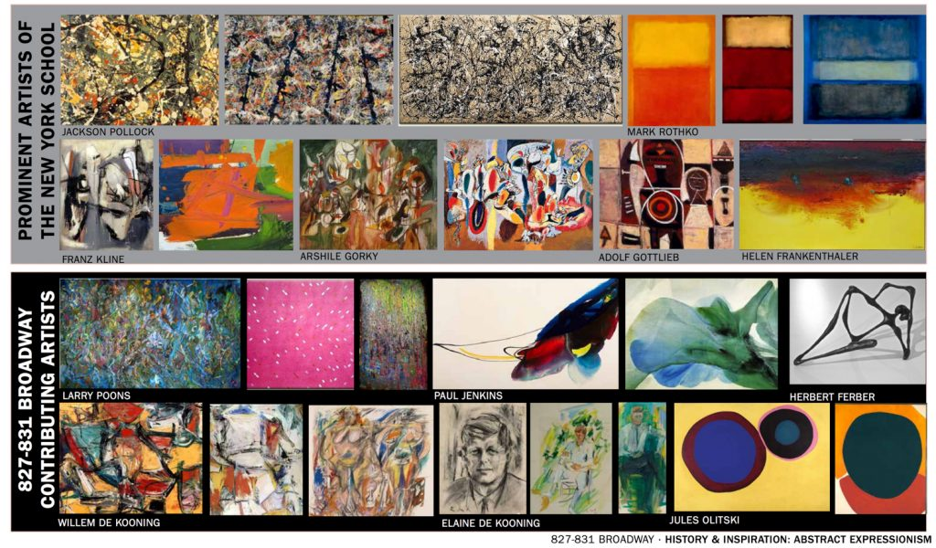 Painting inspiration for 827-831 Broadway, images courtesy DXA Studios