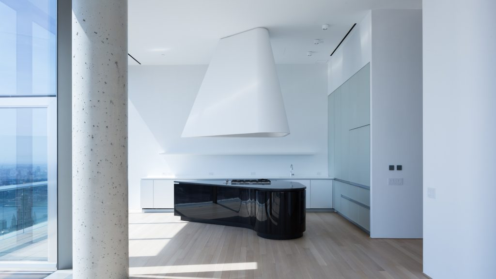 Piano-shaped kitchen island in 56 Leonard, image by Andrew Campbell Nelson