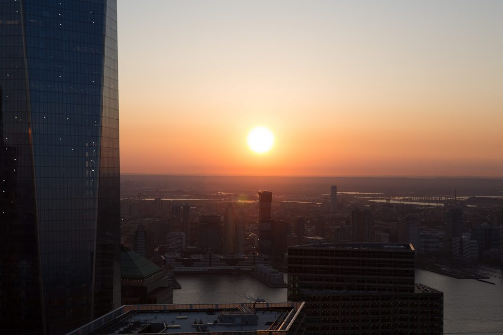 Sunset over Jersey from 30 Park Place, image by Andrew Campbell Nelson