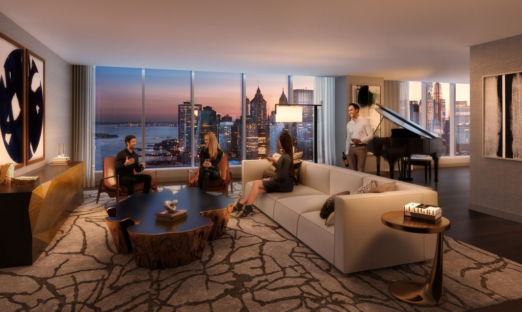One Manhattan Square interior living room