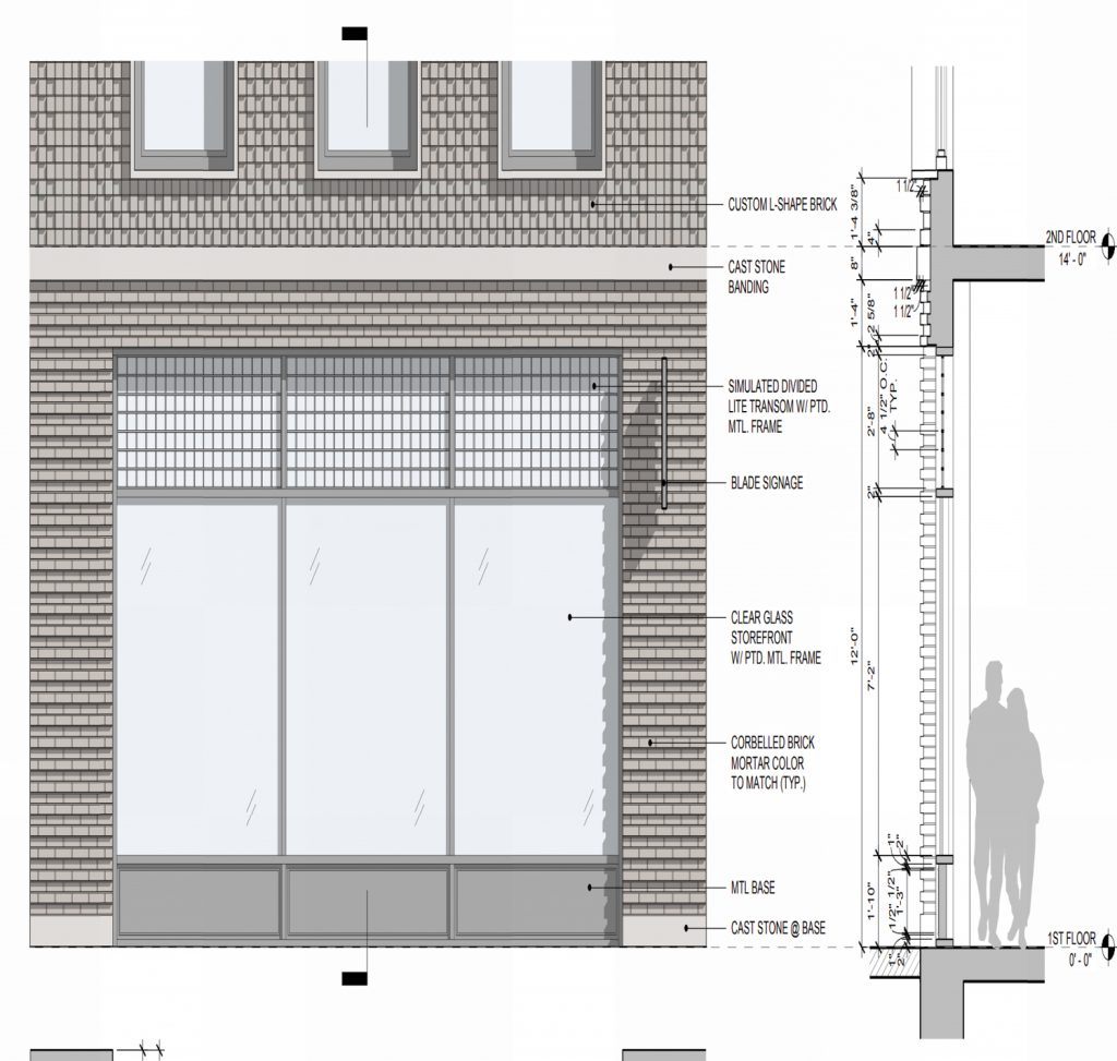 119-121 2nd Avenue retail floor close-up, elevation by Morris Adjmi Architects