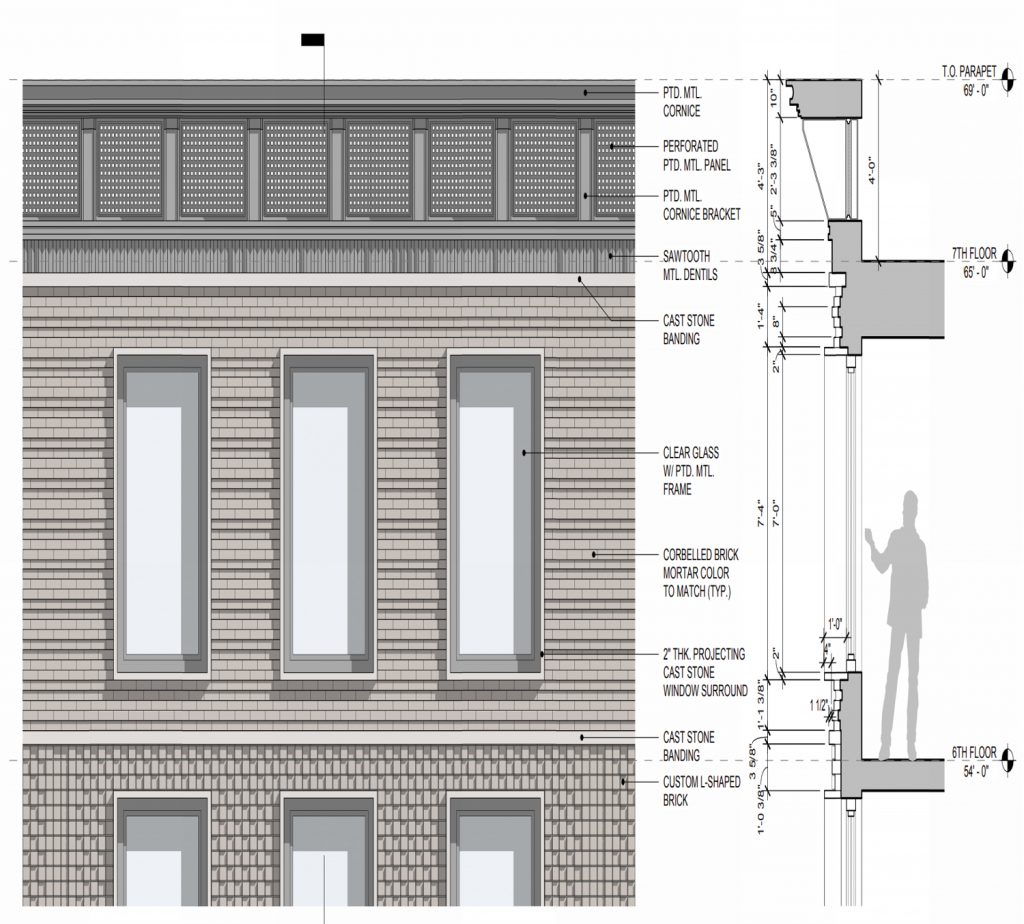119-121 2nd Avenue upper floors facade close-up, elevation by Morris Adjmi Architects