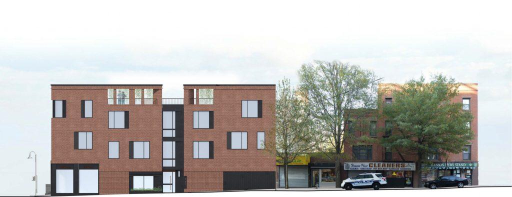 147 Saint Felix Street rendering, view from Hanson Place, image via JRA Design Group