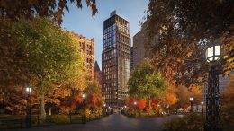 1 Beekman Street seen from City Hall Park at sunset, render by Noë & Associates with The Boundary