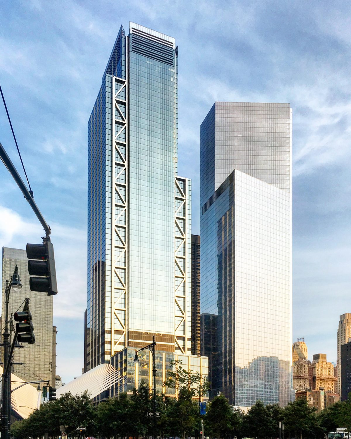 3 World Trade Center (left) opened June 11, 2018, photo by Michael Young