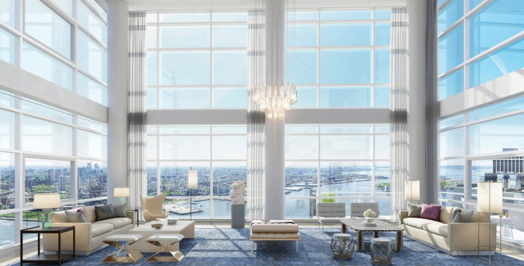 Double-height Penthouse living room in One Seaport, image via the teaser website