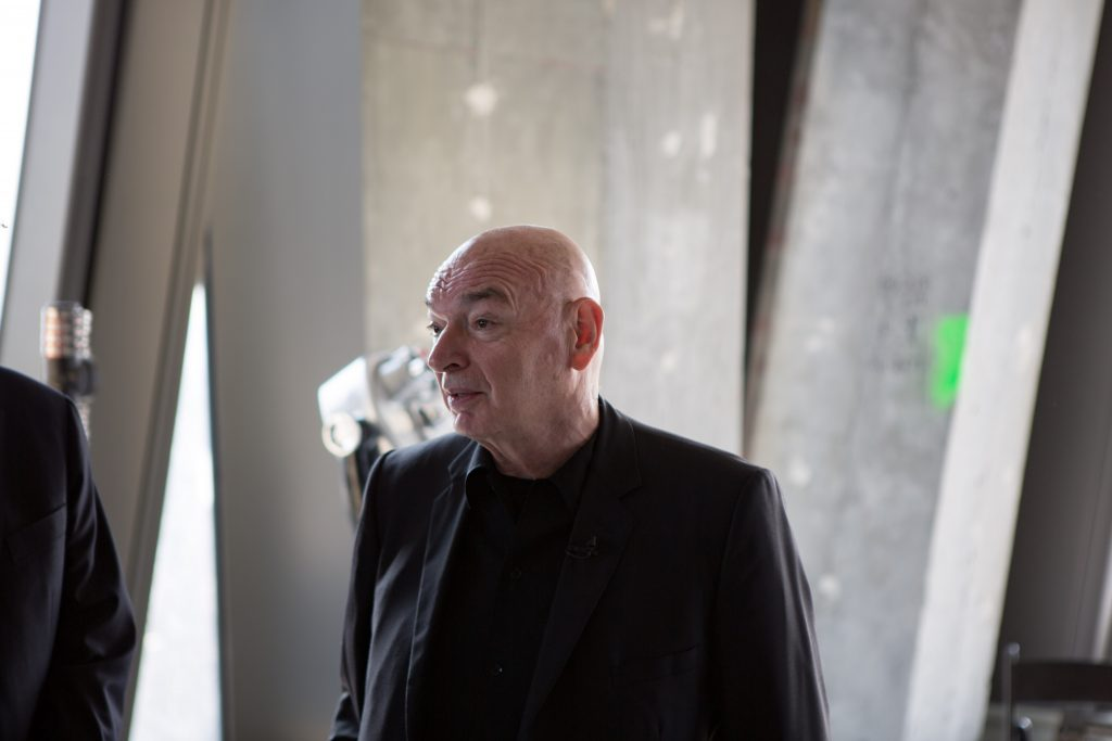 Jean Nouvel talking to the press in 53 West 53rd Street, image by Andrew Campbell Nelson