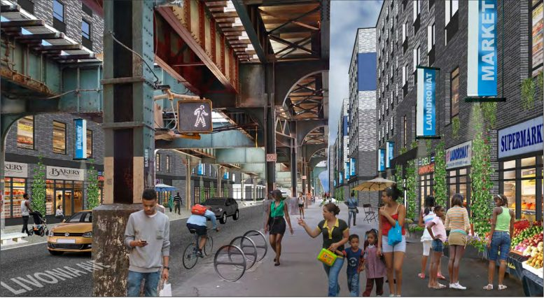 "Rendering of street-level retail portions of the ""Marcus Garvey Extension"" development in Brownsville, Brooklyn"