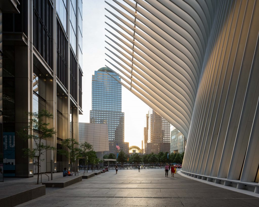 New southern plaza for the Oculus opening along with 3 World Trade Center, image by Andrew Campbell Nelson