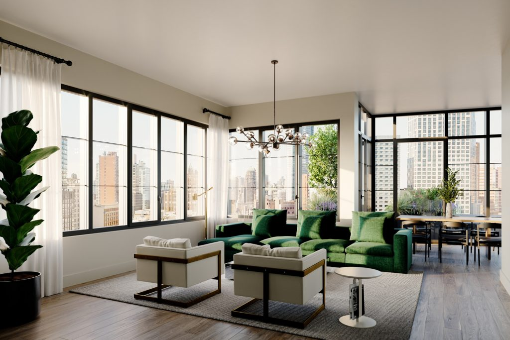 1 Flatbush living room, rendering by Citi Habitats New Developments