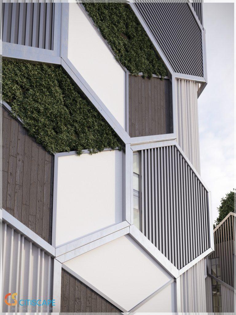 1508 Avenue Z facade closeup, design by Citiscape Consulting
