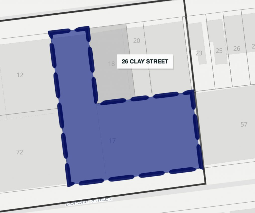 69 Dupont Street in blue, 26 Clay Street highlighted as the darker grey lot, via ZoLa