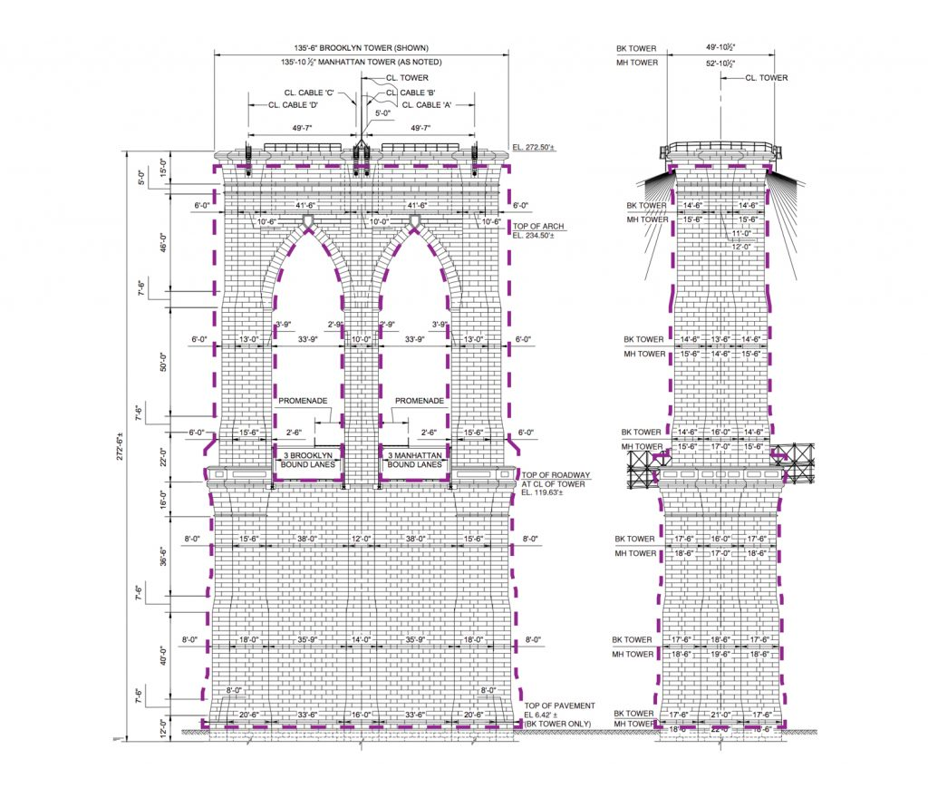 Brooklyn Bridge tower proposed areas for painting and realigning masonry, elevation by B. Thayer Associates