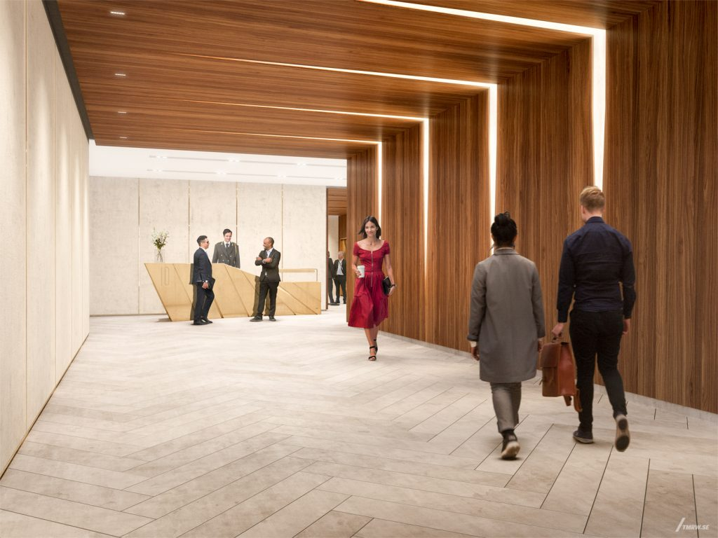 Lobby hallway at 10 Grand Central, design by Studio Architecture