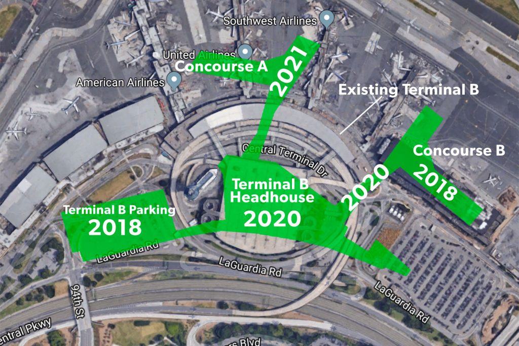 Map of construction phases and estimated completion dates for LaGuardia Terminal B, image by Mike Arnot