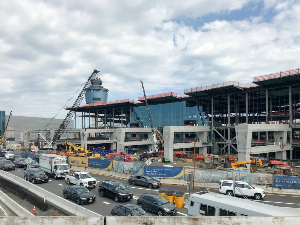 Terminal B mainhouse of LGA redevelopment with facade installation and Airtrain supports both going up