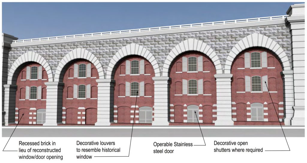 Typified Arch Block along the Manhattan Approach of the Brooklyn Bridge, detailing the necessary alterations for the facade, rendering by B. Thayer Associates