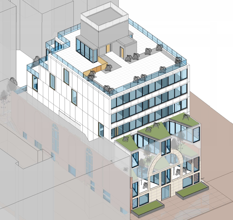 554 Prospect Place detailing use of space for terraces, image courtesy MADS Engineering