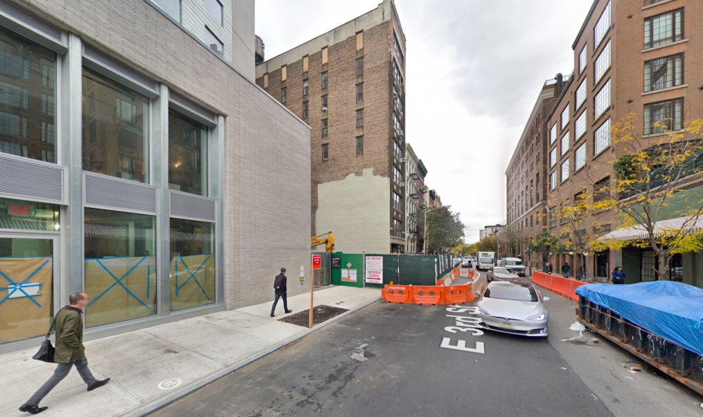 Demolition site of 3 East 3rd Street, via Google Maps