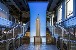 Model of the two-story Empire State Building and the grand staircase, image by Evan Joseph